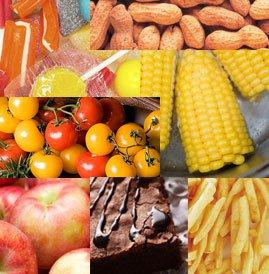 Photos of peanuts, corn, tomatoes, potatoes, chocolate